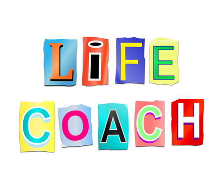 aspirational: Illustration depicting a set of cut out printed letters arranged to form the words life coach.