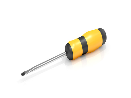 arranged: Illustration depicting a screwdriver arranged over white.