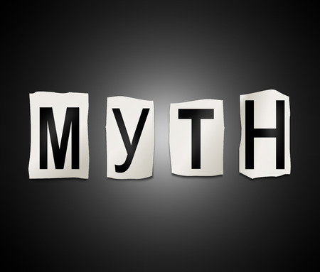 Illustration représentant un ensemble de lettres imprimées découpées disposées pour former le mot mythe.