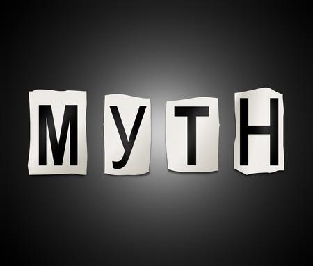 Illustrazione raffigurante un insieme di lettere stampate ritagliate disposti a formare la parola mito.