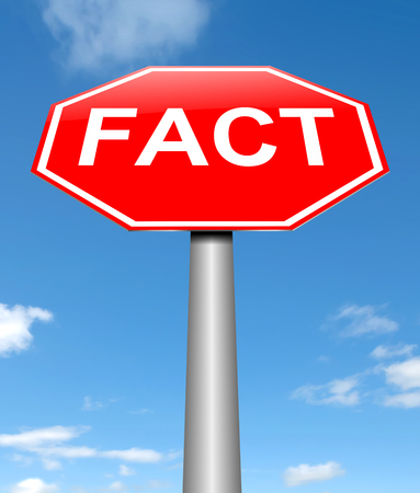 factual: Illustration depicting a sign with a fact concept. Stock Photo