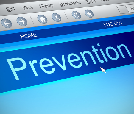 Illustration depicting a computer screen capture with a prevention concept. Stock Photo