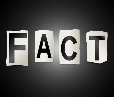 in fact: Illustration depicting a set of cut out printed letters arranged to form the word fact. Stock Photo