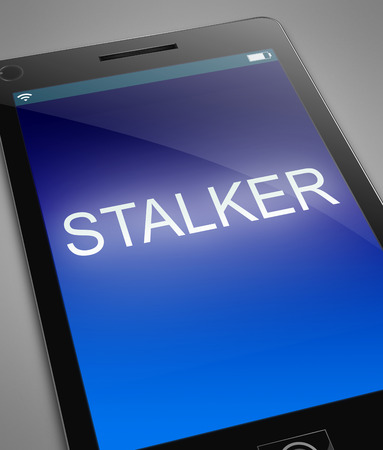 harass: Illustration depicting a phone with a stalker concept. Stock Photo