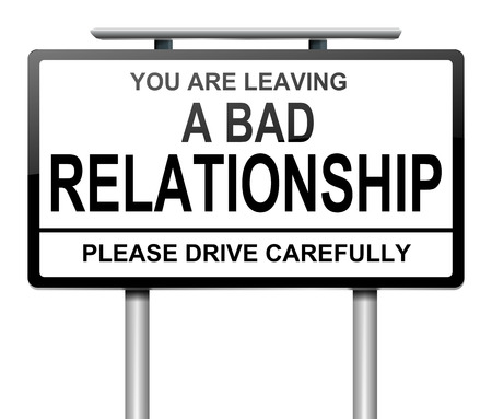 divorcing: Illustration depicting a sign with a relationship concept. Stock Photo