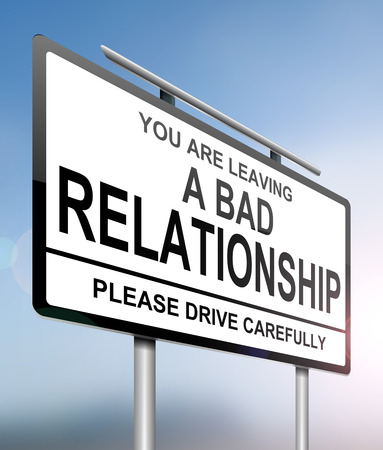 break up: Illustration depicting a sign with a relationship concept. Stock Photo