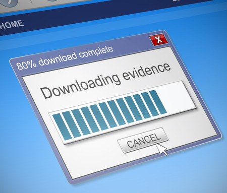 Illustration depicting a computer download box with an evidence concept.