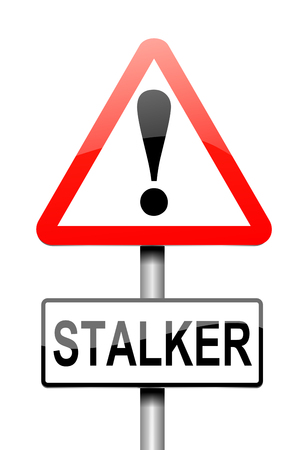 persecution: Illustration depicting a sign with a stalker concept. Stock Photo