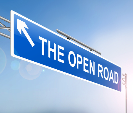 open road: Illustration depicting a sign with an open road concept. Stock Photo