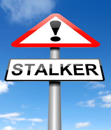harassing: Illustration depicting a sign with a stalker concept. Stock Photo
