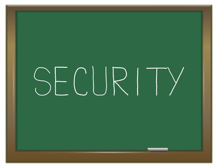 Illustration depicting a green chalkboard with a security concept. Stock Photo