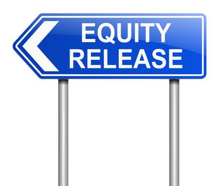 equidad: Ilustración que muestra una señal con un concepto de liberación de capital.