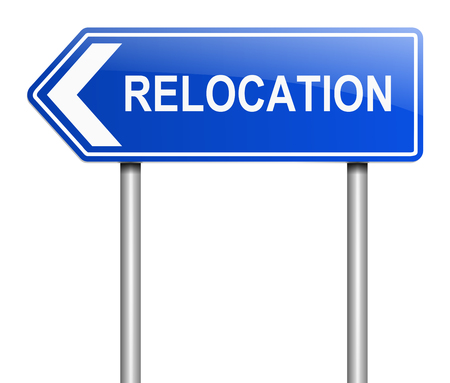 relocation: Illustration depicting a sign with a relocation concept.