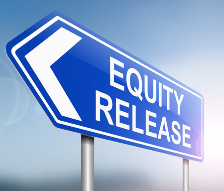 equity: Illustration depicting a sign with an equity release concept. Stock Photo