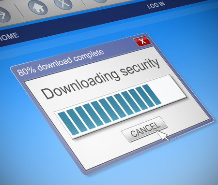 refuge: Illustration depicting a computer dialog box with a security download concept.