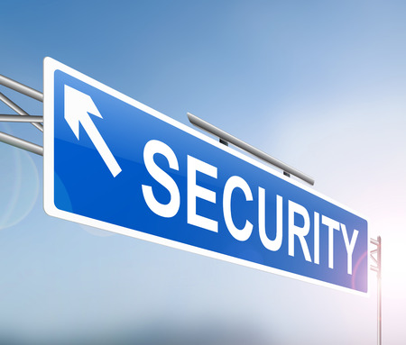 retreat: Illustration depicting a sign with a security concept.