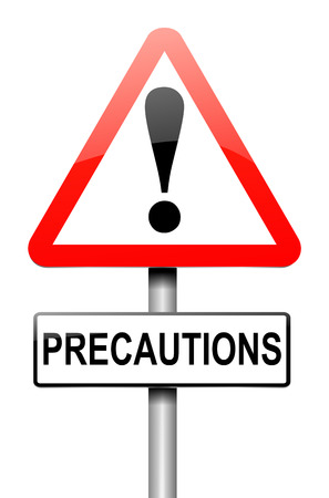 precautions: Illustration depicting a sign with a precautions concept. Stock Photo