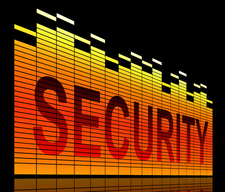 reassurance: Illustration depicting graphic equalizer levels with a security concept.