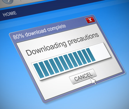 precautions: Illustration depicting a computer dialog box with a downloading precautions concept.
