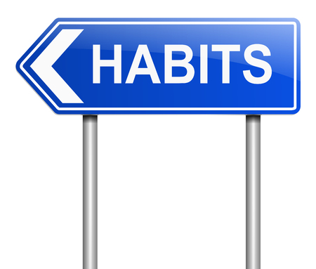 addictive: Illustration depicting a sign with a habits concept.