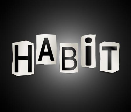 Die Illustration zeigt eine Reihe von ausgeschnitten gedruckten Buchstaben angeordnet, um das Wort Gewohnheit zu bilden. Standard-Bild