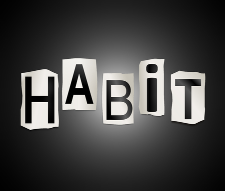 habit: Illustration depicting a set of cut out printed letters arranged to form the word habit.