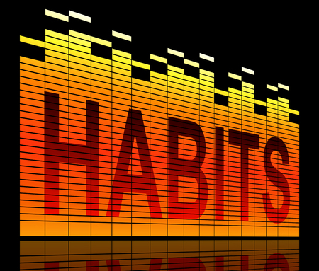 Illustration depicting graphic equalizer levels with a habits concept. Stock Photo