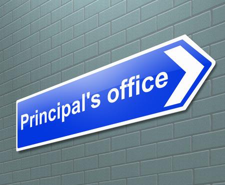 director de escuela: Ilustración que muestra una señal con el concepto de la oficina del director. Foto de archivo