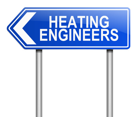 Illustration depicting a sign with a heating engineer concept.