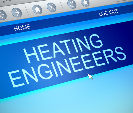 furnace: Illustration depicting a computer screen capture with a heating engineer concept. Stock Photo