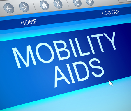 invalidity: Illustration depicting a computer screen capture with a mobility aids concept.
