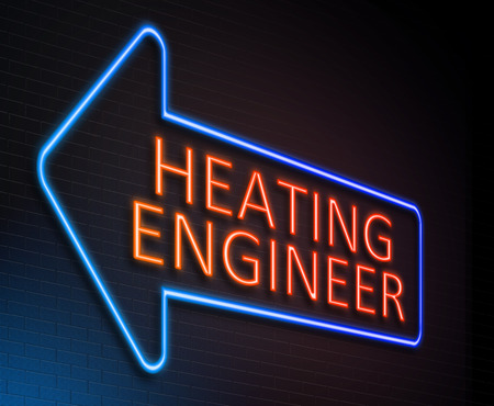 Illustration depicting an illuminated neon sign with a heating engineer concept.