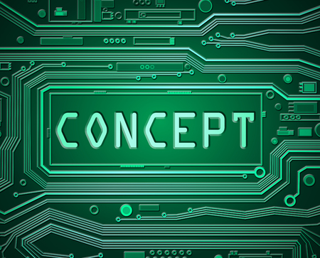 belief system: Abstract style illustration depicting printed circuit board components with the word concept. Stock Photo