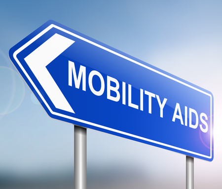 infirmity: Illustration depicting a sign with a mobility aids concept.