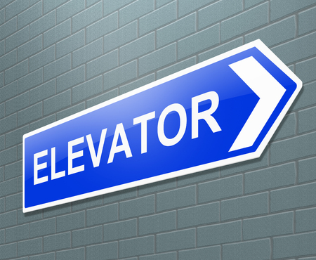 Illustration depicting a sign with an elevator concept. Imagens