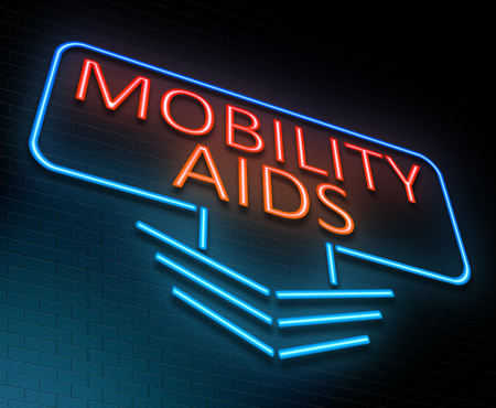 infirmity: Illustration depicting an illuminated neon sign with a mobility aids concept. Stock Photo