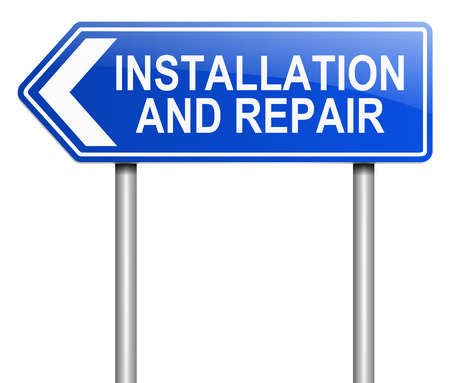 installing: Illustration depicting a sign with an installation and repair concept. Stock Photo