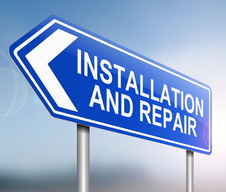 Illustration depicting a sign with an installation and repair concept. Stok Fotoğraf
