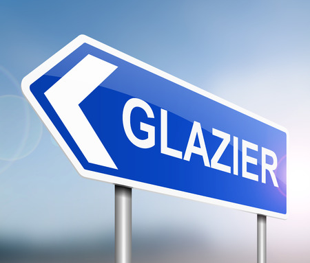 window pane: Illustration depicting a sign with a glazier concept.