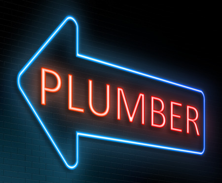maintenance fitter: Illustration depicting an illuminated neon sign with a plumber concept. Stock Photo