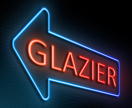 glazier: Illustration depicting an illuminated neon sign with a glazier concept. Stock Photo