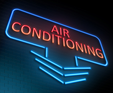 blue signage: Illustration depicting an illuminated neon sign with an air conditioning concept. Stock Photo