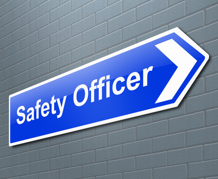 safety: Illustration depicting a sign with a safety officer concept.