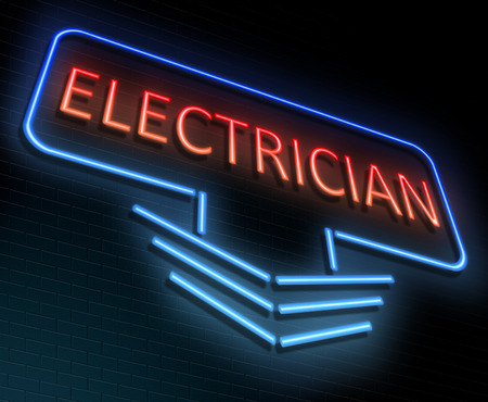 Illustration depicting an illuminated neon sign with an electrician concept. Stock Photo