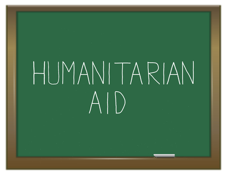 assistance: Illustration depicting a green chalkboard with a humanitarian aid concept.