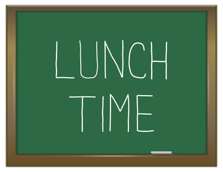 snack time: Illustration depicting a green chalkboard with a lunch time concept.