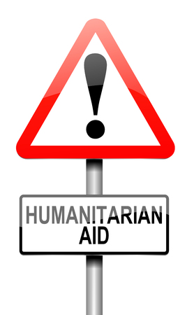 assist: Illustration depicting a sign with a humanitarian aid concept. Stock Photo
