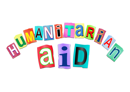 disaster relief: Illustration depicting a sign with a humanitarian aid concept. Stock Photo