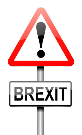 electing: Illustration depicting a sign with a Brexit concept.