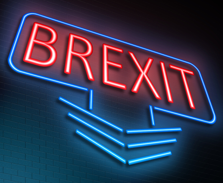neon sign: Illustration depicting an illuminated neon sign with a Brexit concept.